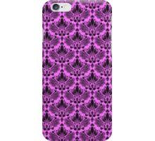 Hot Pink & Black Vintage Floral Damasks Pattern iPhone Case/Skin