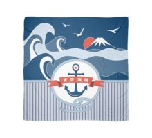 Japanese Nautical Anchor Rope Wave Mt Fuji Seagull Scarf