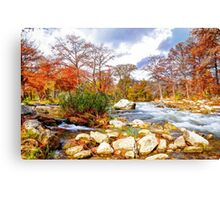 Along The River In Fall Canvas Print