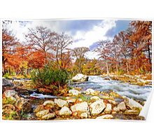 Along The River In Fall Poster