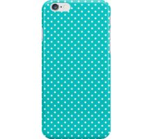 White & Turquoise-Blue Retro Polkadot Pattern iPhone Case/Skin