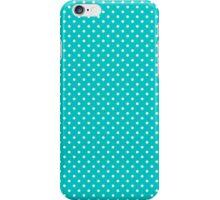 White & Turquoise-Blue Retro Polkadot Pattern iPhone Case/Skin