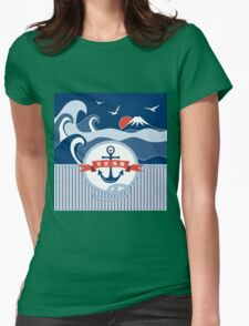 Japanese Nautical Anchor Rope Wave Mt Fuji Seagull Womens Fitted T-Shirt