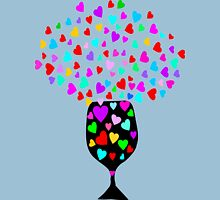 ۞»♥Drink Love: A Glass of Romantic Hearts Clothing & Stickers♥«۞ Womens Fitted T-Shirt