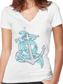 Ocean Wave Anchor Women's Fitted V-Neck T-Shirt