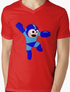 Megaman Retro 8-Bit Geek Smoothed Sticker Nerd Mens V-Neck T-Shirt
