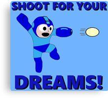 "Megaman Retro Gamer ""Shoot For Your Dreams"" Geek Aspiring Nerd Canvas Print"
