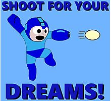 "Megaman Retro Gamer ""Shoot For Your Dreams"" Geek Aspiring Nerd Photographic Print"