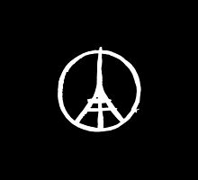 White Eiffel Tower on Black Paris Terror Attacks by podartist