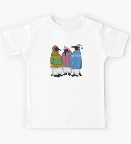 Penguins in Hand Knitted Sweaters Kids Tee