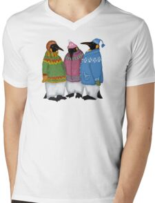 Penguins in Hand Knitted Sweaters Mens V-Neck T-Shirt