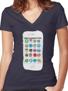 Phone illustration Women's Fitted V-Neck T-Shirt