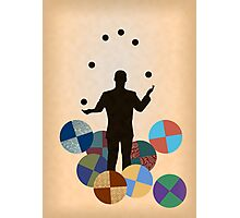 Silhouette Juggler with Props - Balls Photographic Print