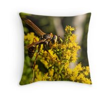 Yellow Wasp On Yellow Flower 2 Throw Pillow