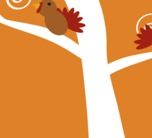 Five Thanksgiving Turkeys in a Tree Sticker