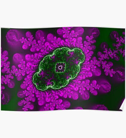 Mandelbrot Green and Purple Poster