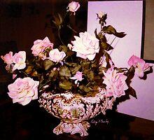 """""""Pink Roses Porcelain Bowl""""© by HelgaFCrosby"""