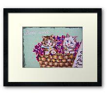 Kittens In A Basket Framed Print