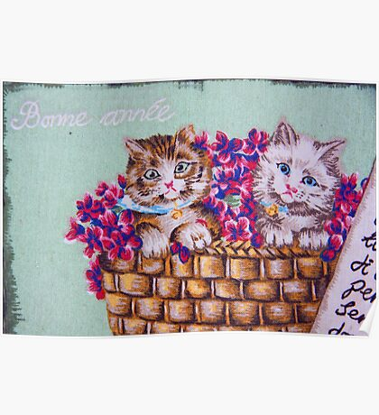 Kittens In A Basket Poster
