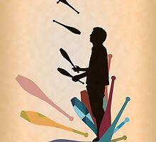 Silhouette Juggler with Props - Clubs by Sam Mann