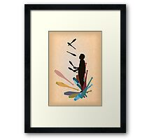 Silhouette Juggler with Props - Clubs Framed Print