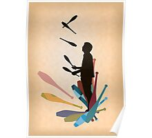 Silhouette Juggler with Props - Clubs Poster