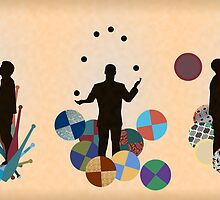 Silhouette Juggler with Props - Clubs, Rings and Balls by Sam Mann