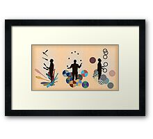 Silhouette Juggler with Props - Clubs, Rings and Balls Framed Print