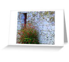 Stone Barn With Fuschia Greeting Card