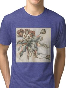 Vintage Bridal Bouquet.Hand drawn watercolor and ink drawing Tri-blend T-Shirt
