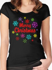 Merry Christmas Festive Snowflakes Women's Fitted Scoop T-Shirt