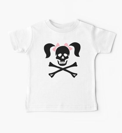 """Halloween """"Girl Skeleton With Pink Bows"""" T-Shirt Baby Tee"""