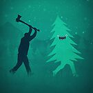 Funny Christmas Tree Hunted by lumberjack (Funny Humor) by badbugs