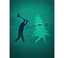 Funny Christmas Tree Hunted by lumberjack (Funny Humor) Photographic Print