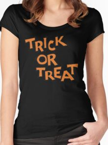 "Halloween ""Trick or Treat"" T-Shirt Women's Fitted Scoop T-Shirt"