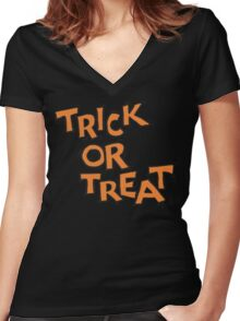 "Halloween ""Trick or Treat"" T-Shirt Women's Fitted V-Neck T-Shirt"