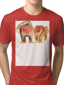 Valentine's Day Abstract Love Monkeys T-Shirt Tri-blend T-Shirt