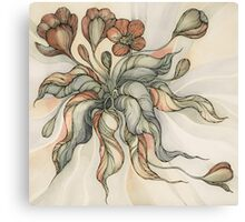 Vintage Bridal Bouquet.Hand drawn watercolor and ink drawing Canvas Print