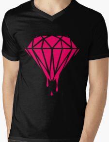 Neon Dripping Diamond Mens V-Neck T-Shirt