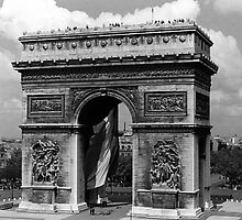 BW France Paris Triumphal arch Place de l'Etoile 1970s by blackwhitephoto