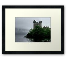 Out of the gloom - Urquhart Castle.......! Framed Print