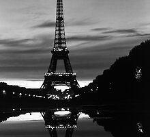 BW France Paris Eiffel tower reflection 1970s by blackwhitephoto