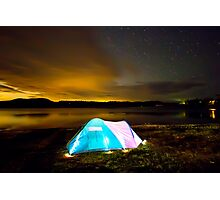 Tent by lake under stars Photographic Print