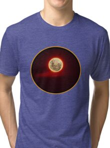 Red Moon with cloud Tri-blend T-Shirt