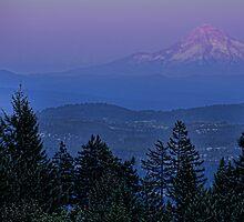 The Moon Beside Mt. Hood by Don Schwartz