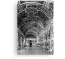 BW France palace of versailles mirrors galery 1970s Canvas Print