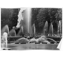 BW France palace of Versailles neptune fountains 1970s Poster