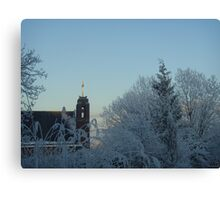 Winter scene with church Canvas Print