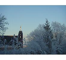 Winter scene with church Photographic Print