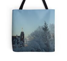 Winter scene with church Tote Bag